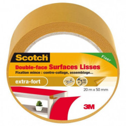 3M SCOTCH Double-face - 20 m x 50 mm - Surface lisse