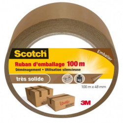 3M SCOTCH Ruban adhésif d'emballage - 100 m x 48 mm - Marron
