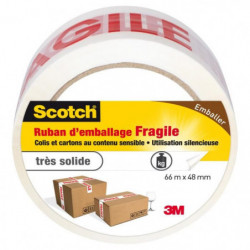 3M SCOTCH Ruban adhésif d'emballage fragile - 66 m x 48 mm