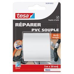 TESA Ruban de réparation PVC souple - 5m x 50mm - Blanc
