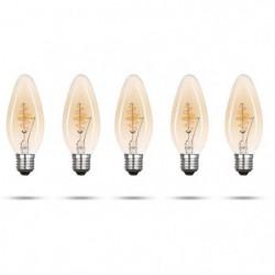 XQ-LITE Lot de 5 ampoules filament LED E27 bougie 2,5 W équi