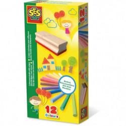 SES CREATIVE 12 Craies colorées avec effaceur