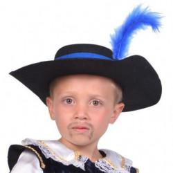 CESAR Chapeau Mousquetaire avec Plume - Bleu