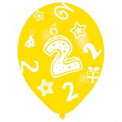 Lot de 6 Ballons - Latex - Bougie chiffre 2 - Imprimé tous c