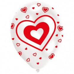 Lot de 6 Ballons - Latex - Coeurs - Imprimé tous côtés - Rou