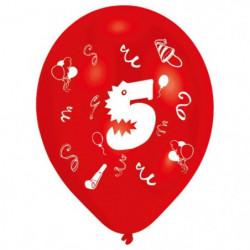 Lot de 8 Ballons - Latex - Chiffre 5 - Imprimé 2 faces