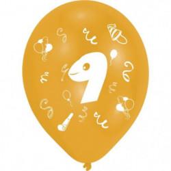 Lot de 8 Ballons - Latex - Chiffre 9 - Imprimé 2 faces