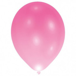 Lot de 6 Ballons avec LED - Latex - 27,5 cm - Rose