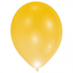 Lot de 8 Ballons avec LED - Latex - 27,5 cm - Or