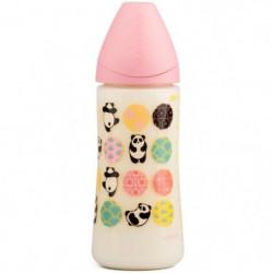 SUAVINEX Biberon Fille 360 ml Silicone Panda - Rose