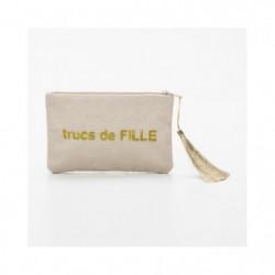 """BAM - Pochette beige - Message """"Trucs de Fille"""""""