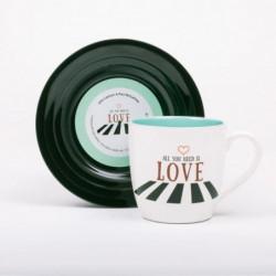 LYRICAL MUG L&M Pack Mug et Soucoupe - Love 2 - Bleu ciel /