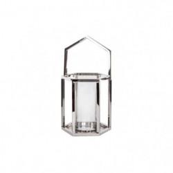 Bougeoir lanterne déco pretty - Inox - L 20 x l 18 x H 20 cm