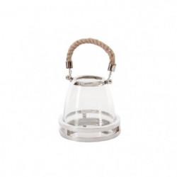 Bougeoir lanterne déco pretty - Inox - L 16 x l 16 x H 14 cm