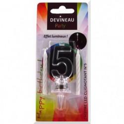 DEVINEAU Chiffre plastique avec led et 4 bougies - n°5
