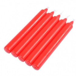 Lot de 5 bougies de table - H 20 cm - Rouge