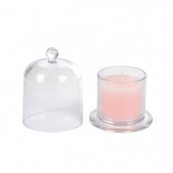 Bougie verrine cloche parfum dragée H 11 cm Rose