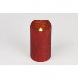 Bougie de Noël LED pailletée en cire et PVC - H 13 x Ø 7 cm