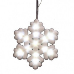 Suspension de Noël Flocon lumineux - 25 x 3 cm - Blanc