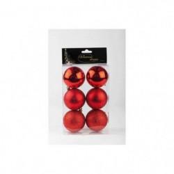 Set de 6 boules de Noël - 7 cm - Rouge