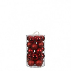 Boule incassable rouge 23 pieces - d8cm