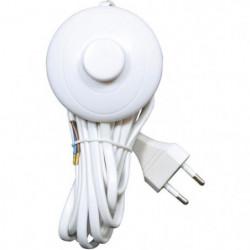 TIBELEC Cordon 3m avec inter poussoir & fiche blanc