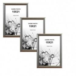MODENA Lot de 3 cadres photos 15x21 cm Argent s...