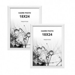 MODENA Lot de 2 cadres photos 18x24 cm Blanc mat