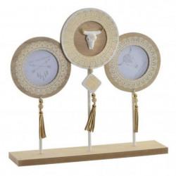 Cadre photos Cornes en bois et métal - 30x28,7x7 cm
