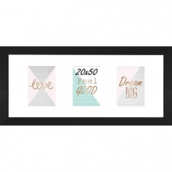 Cadre multivue - 3 vues - MDF - 20x50 cm - Noir mat