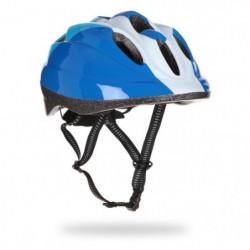 Casque vélo enfant, bleu et blanc, taille : 48 - 52 cm.