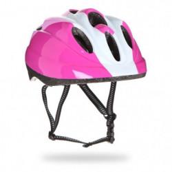 Casque vélo enfant, rose et blanc, taille : 48 - 52 cm.
