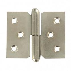 Lot de 2 paumelles droites en acier nickelé - 40 x 50 mm
