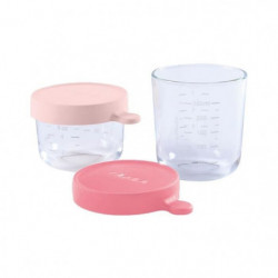 BEABA Lot de 2 portions verre 150ml et 250ml - Pink