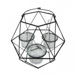 HOMEA Photophore Geometrik 20x18,75xH27 cm noir
