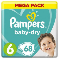 Pampers Baby-Dry Taille 6, 13-18 kg - 68 Couches - Mega Pack