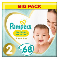 PAMPERS Premium Protection New Baby Taille 2 - 3 a 6 kg - 68
