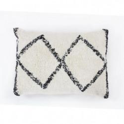Coussin berbere Box - 40 x 60 cm - Blanc et noir