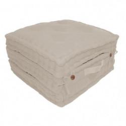 Coussin de sol 3 plis 100% coton 60x60x180 cm - Blanc lin