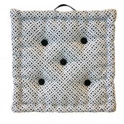 Coussin de sol Coton imprimé Clover 40x40x9 cm noir et blanc