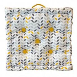 Coussin de sol Coton imprimé Mistigri 40x40x9 cm gris, jaune