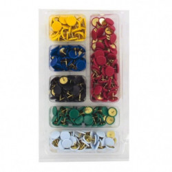 Lot de 290 Punaises - Acier et plastique - Couleurs panachée