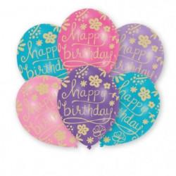 AMSCAN Lot de 6  ballons en latex imprimé Happy Birthday Flo