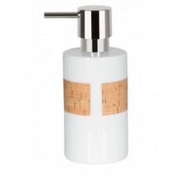 TUBE Distributeur de savon Porcelaine et Liege - 16x7x7 cm -