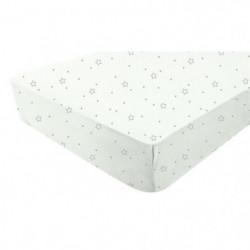 DOUX NID Drap-housse blanc - imprimé Etoiles grises 60x120 c