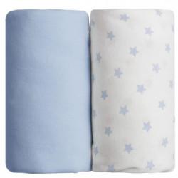BABYCALIN Lot de 2 draps housse Jersye coton - Bleu uni et i