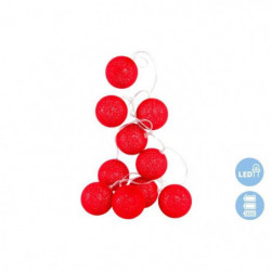 Guirlande de Noël LED en coton - 6 x 150 cm - Rouge