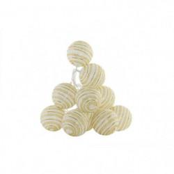 Guirlande de Noël LED en PVC - 15 x 175 cm - Blanc et doré