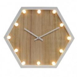 LUMINA Horloge lumineuse - Bois et blanc