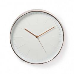 NEDIS Horloge murale circulaire - Ø 30 cm - Blanc et Or rose